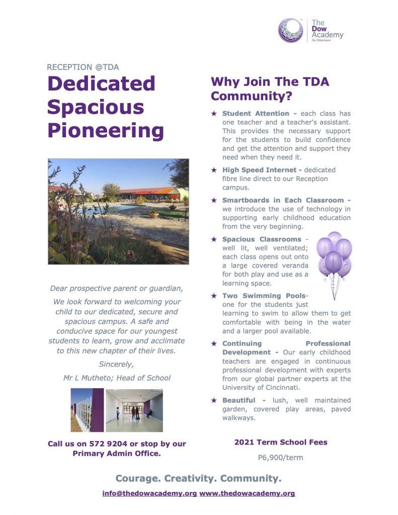 TDA Reception Brochure